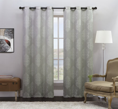 rollos gardinen vorhange 2 silver jacquard window curtain panels off white medallion design set of two mobel wohnen pogio be