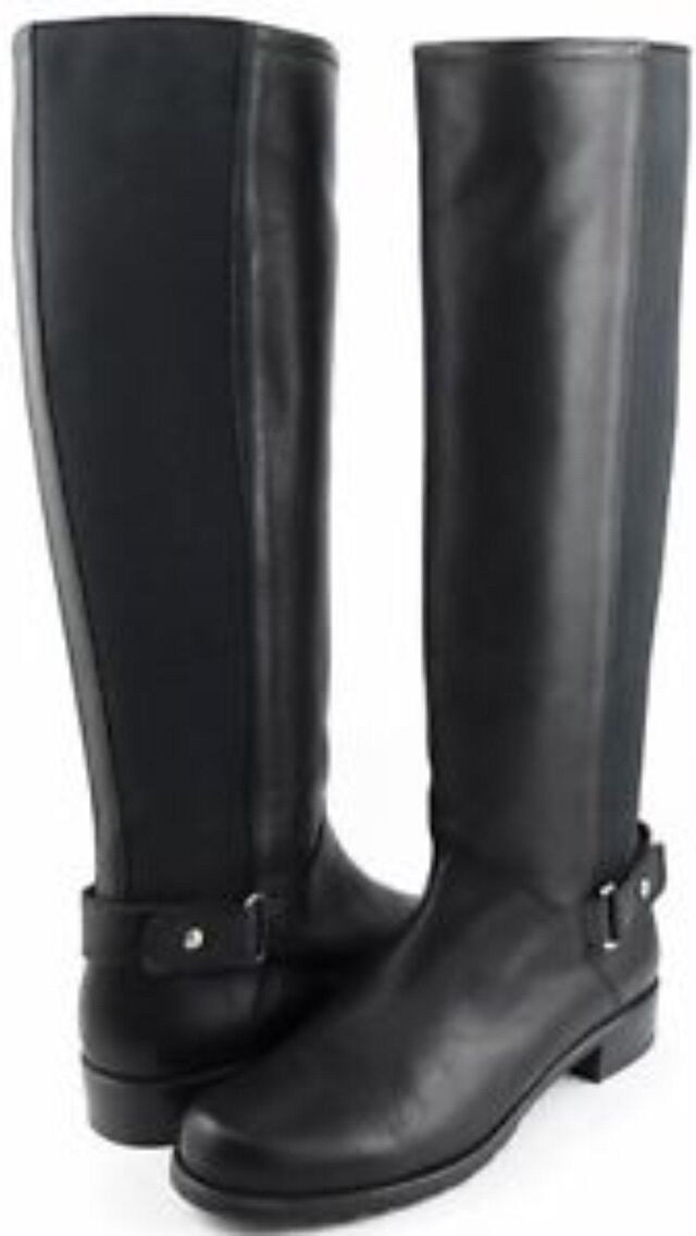 Stuart Weitzman Numount 50 50 Black Leather Knee High Boots 8 M