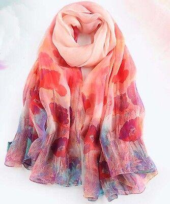 "100/% Silk Women Scarf 68x43/"" large Shawl long Wrap pink red purple blue S028-006"