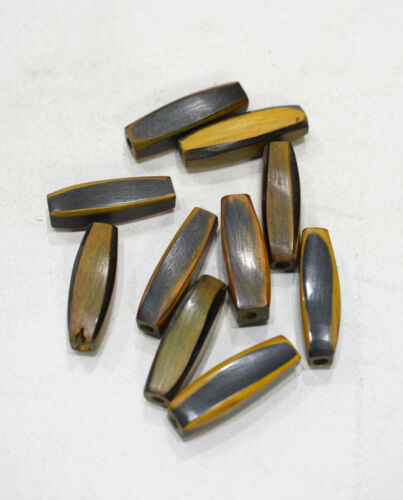 Beads Indonesia Brown Yellow Horn Beads 26-28mm