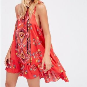 INTIMATELY-FREE-PEOPLE-Women-s-SMALL-Coral-Orange-ANNKA-Border-SLIP-DRESS