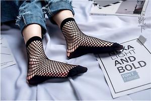 Fashion Women Ruffle Fishnet Ankle High Socks Bow Mesh Lace Fish Net Short Sock