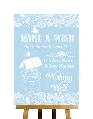 2019 Nieuwe Stijl Blue Burlap & Lace Effect Wishing Well Message Personalised Wedding Sign Elegant En Sierlijk
