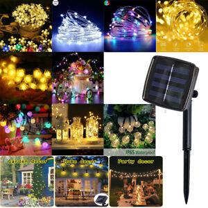 LED-Solar-Lichterkette-Wasserfest-10-22m-Kupferdraht-Fairy-Aussen-Garten-Lampe
