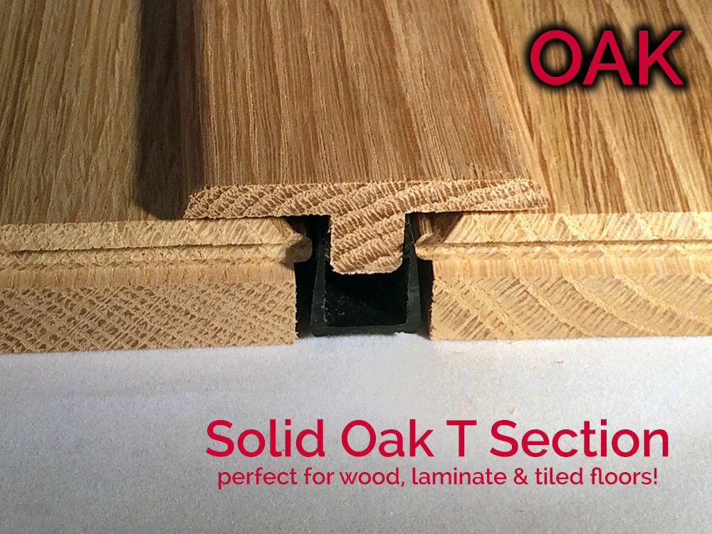 Real Solid Oak T Section For Wood Floor Threshold Door Bar