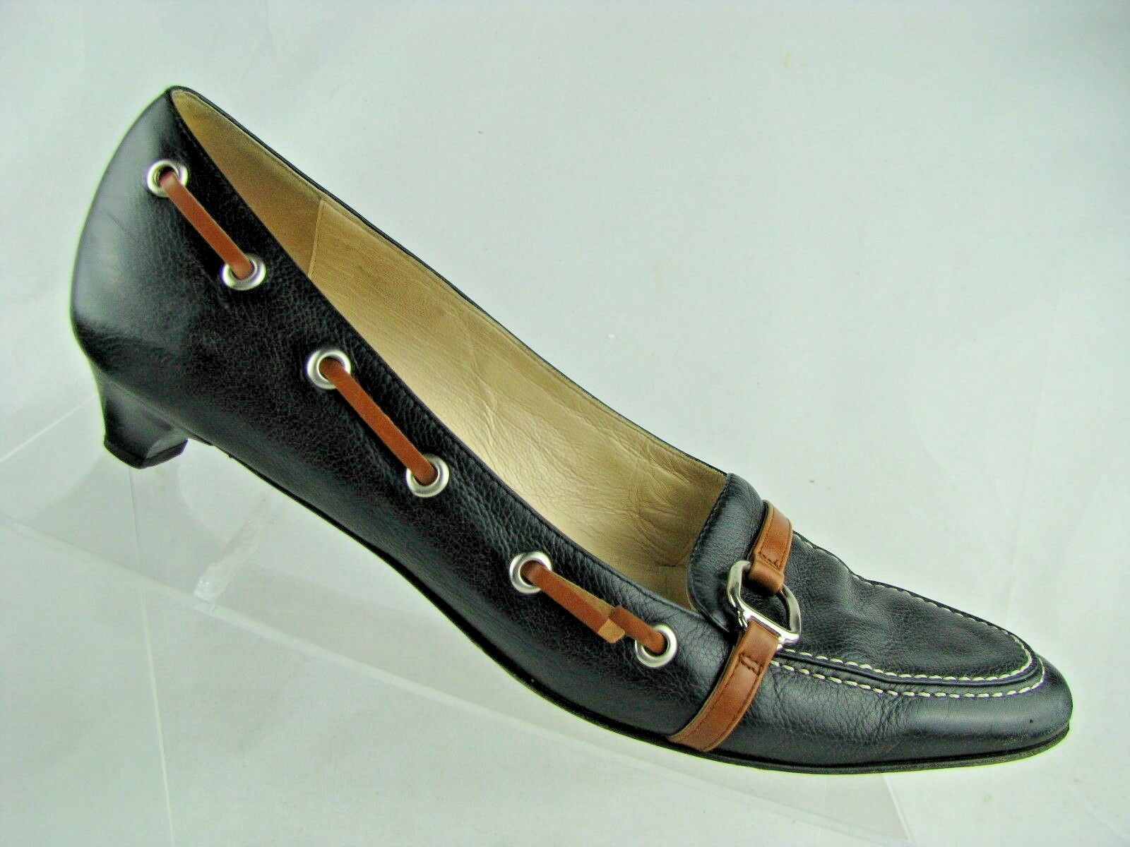 Cole Haan Womens Slip On Loafers Black British Tan Sz 8.5 B Crafted In