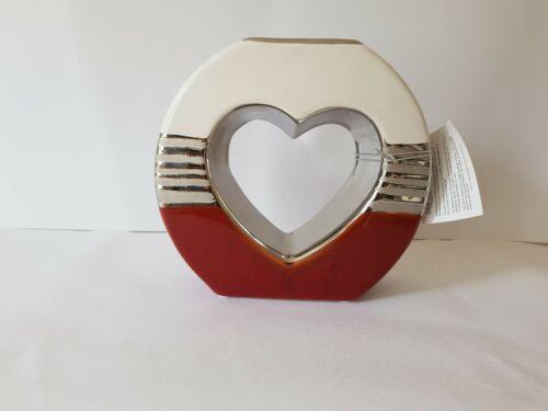 Edle Deko Vase Orlando Weiß Rot-Grau aus Keramik Herz 21x22 cm Glas Art