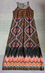 FAT FACE Aztec Print Cotton Maxi Dress Size 16