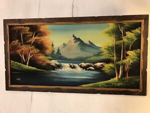 """Vintage Painting Oil on Velvet Mountains And Stream 48""""x25"""".SEE12pix. MAKE OFFER"""