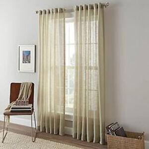 "Shimmer Sheer Back Tab and Rod Pocket Curtain Panel, Linen color, 108"" length"