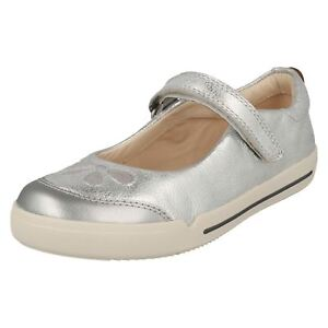 Details about Clarks Girls Mini Eden Silver Leather Smart Shoes