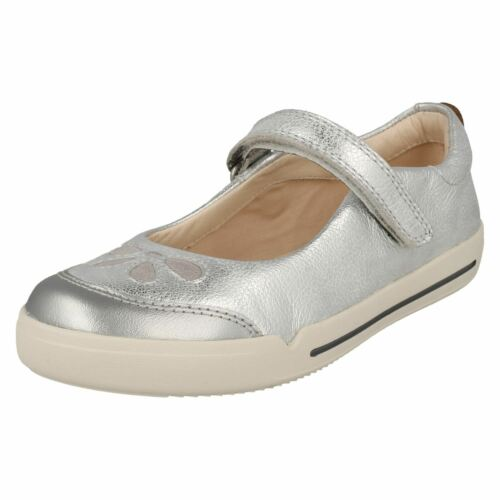 Eden inteligentes cuero plateados zapatos Girls Mini Clarks de 0qPEw7Tv
