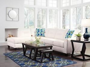 Martha White Fabric Living Room Sofa Queen Sleeper Couch Chaise
