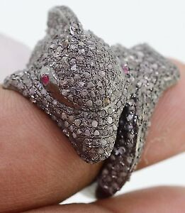 Dolphin Shape Ruby Rose cut Diamond Ring,Rose cut Diamond Ruby Ring
