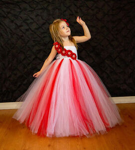 Image Is Loading RED Amp WHITE FLOWER GIRL TUTU DRESS FOR