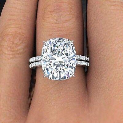 2 30ctw Natural Elongated Cushion Cut Pave Diamond Engagement Bridal Ring Set Ebay