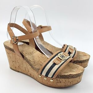 TOMMY-HILFIGER-Womens-Hottie-Cork-Wedge-Sandals-Nautical-Monogram-Logo-Sz-9-M