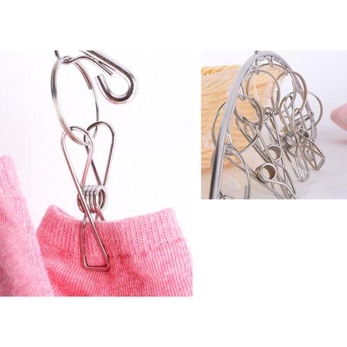 2Pcs 8 Clip Stainless Steel Sock Underwear Bra Clothes Dryer Laundry Hanger
