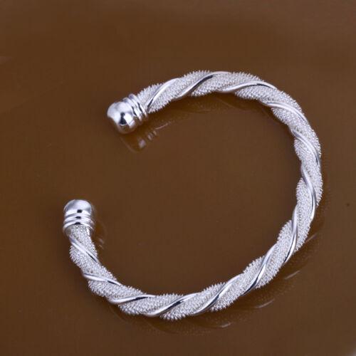 Wholesale 925Sterling Silver Wrest Line Mesh Bangle Bracelet  6.5CM BLB020