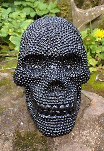 Mexican Day of the Dead Diamante Skull ornament black resin skull