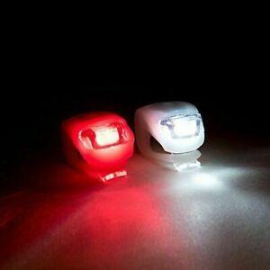2-LED-Rosso-Bianco-Silicone-Bicicletta-Mountain-Bike-Anteriore-Posteriore-Luci-Set-Push-CICLO