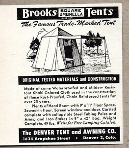 1950 vintage ad brooks umbrella tents denver tent awning