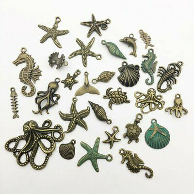 SC1345 BULK 30 Starfish Charms Antique Silver Tone Ocean Themed Shell