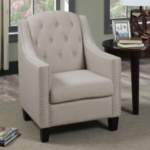 Enjoyable Poundex F1526 Bobkona Taden Nail Head Trimmed Accent Chair Beige Caraccident5 Cool Chair Designs And Ideas Caraccident5Info