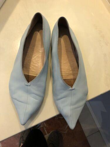 Celine pale blue leather v neck flat shoes