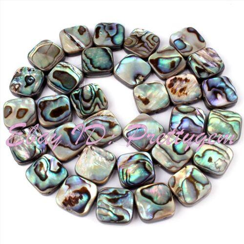 """8.10.12.14 Mm Natural Forma Cuadrada Abalone Shell de piedras preciosas espaciador strand 15 /"""""""