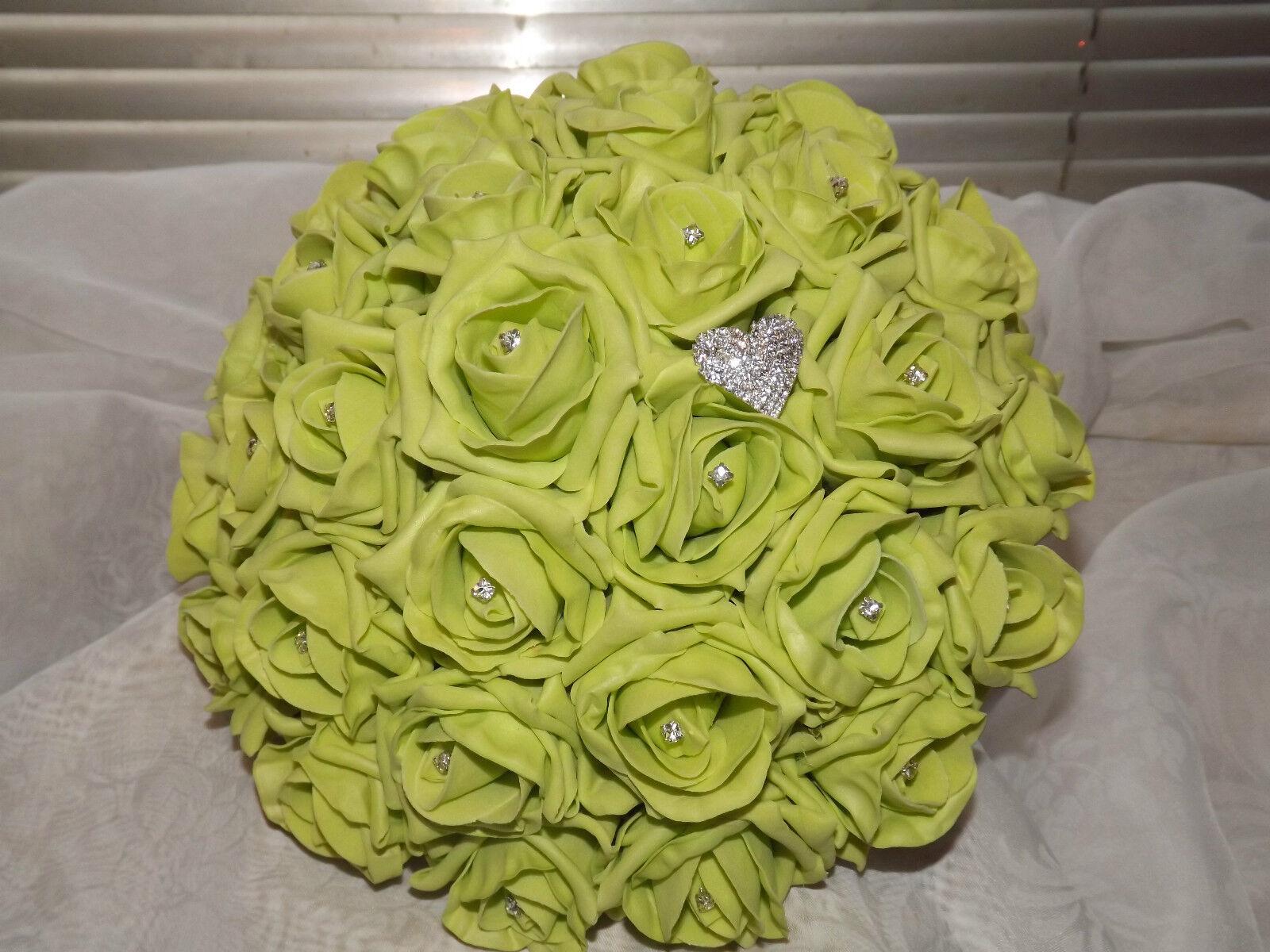 Mariage Fleurs Paquet brides Maids boutonnières Lime & Ivoire Mousse Roses & strass
