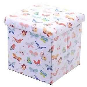 faltbare aufbewahrungsbox sitz hocker box sitzbox kinderzimmer schmetterlinge 5055071722073 ebay. Black Bedroom Furniture Sets. Home Design Ideas