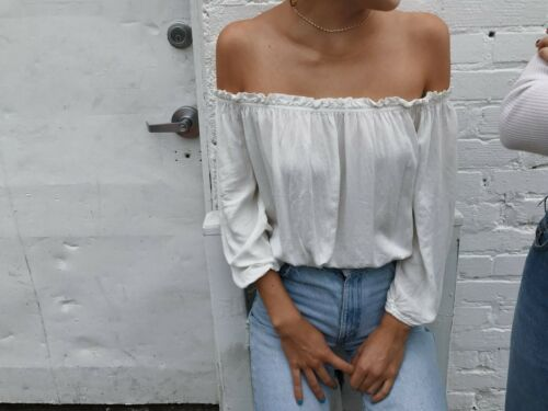 Brandy Melville White cropped cotton off shoulder ruffle trimmed Maura Top S//M