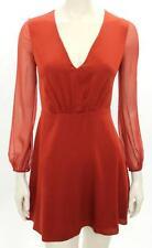 Alice & Oliva Copper Silk V-Neck Cary Flare Dress Size 10 NEW
