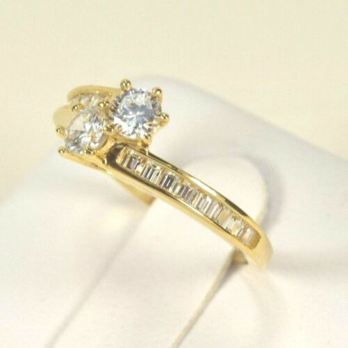 BRAND NEW 14k Yellow Gold Couples Lovers Twin Engagement Ring Size 5-9
