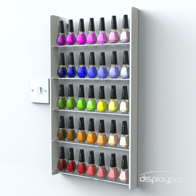 Black Wall Mounted Acrylic Nail Polish Display Stand 5 Tier Holds 40-50 Bottles