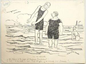 Détails Sur Gaston Mas Dessin Original Vers 1930 Humour Bain De Mer Plage