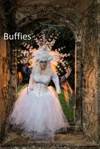 Long Blanc Tutu Noir sorcière Fancy Dress Vixen Vampire Gothique Mariage Taille 8-22
