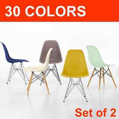 set of 2 dsw dsr molded side chair eiffel Mid Century Modern metal.eames,esque