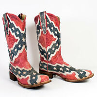 Men's Corral Flag Square Toe Cowboy Boot All Sizes Free Ship A1324