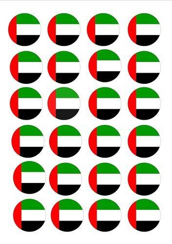 24 X Emiratos Árabes Unidos Eau Banderas Comestibles Cupcake Toppers Torta Oblea De Papel De Arroz