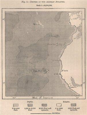 Azores 1885 old antique map Depths of the Azorian Atlantic Atlantic Ocean