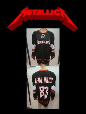 Music Memorabilia Metallica Pro Style Hockey Jersey L Sz 48 Large Metal Militia Spare No Cost At Any Cost Metallica