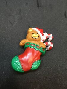 1985-Hallmark-Cards-Teddy-Bear-Stocking-Brooch-Pin-Christmas-Candy-Canes-FS