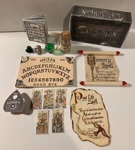 MINIATURE MYSTICAL OUIJA WOODEN BOARD SET W//PLANCHET /& 5 TAROT CARDS /& BOX BLUE