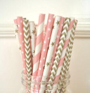 100pcs-gold-and-pink-mix-polka-dot-paper-straws-wedding-BIRTHDAY-party-YN7