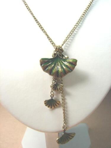 Nouveau Lucky Brand Vert Fan Forme Feuille Goutte Pendentif Chaîne dorée collier long