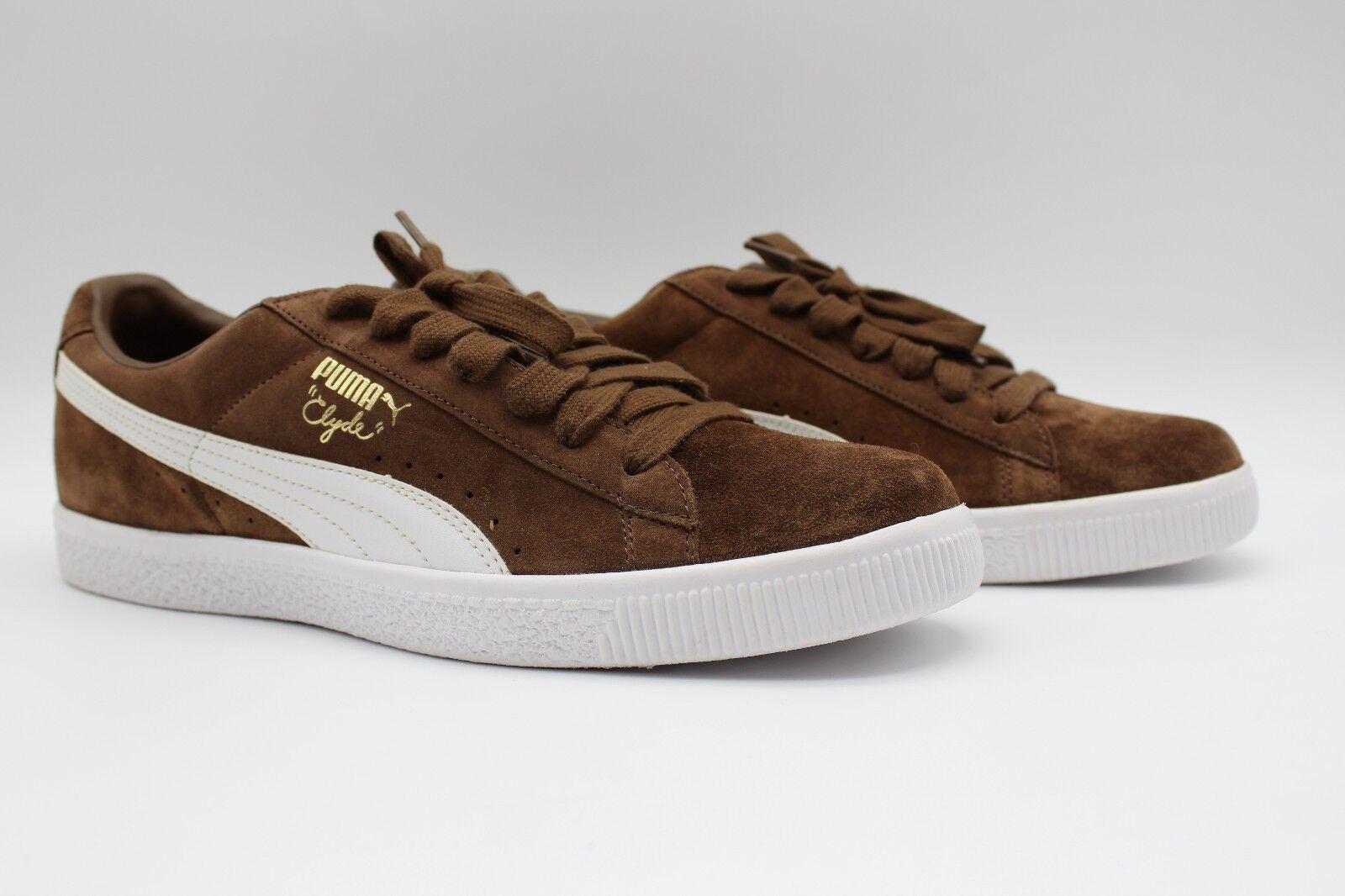 Puma Men's Clyde Script Dark Earth Brown White Sneakers 351907-15 (NEW)