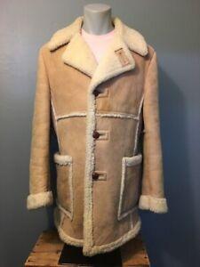 Mens Sheepskin Coat >> Details About Vtg 70s 80s Leather Suede Sheepskin Coat Mens M Shearling Marlboro Man Jacket