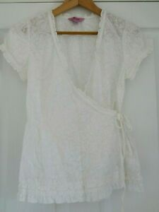 MONSOON-Pretty-White-Floral-Wrap-Top-Blouse-Size-8-Excellent-Condition